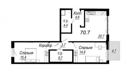 2-комнатная квартира №27 в: Meltzer Hall: 70.7 м²; этаж: 4 - купить в Санкт-Петербурге