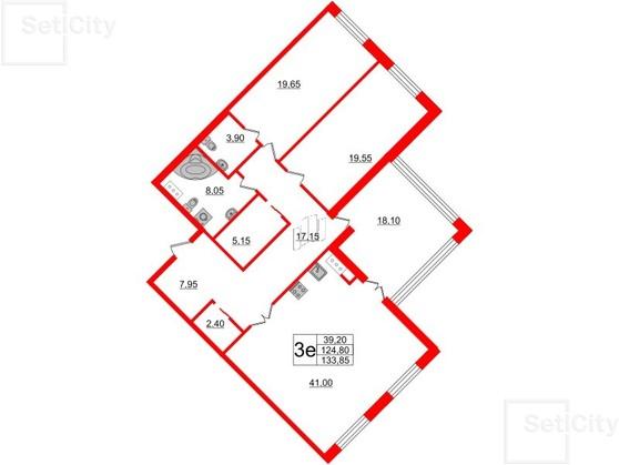 2-комнатная квартира, 125.5 м²; этаж: 6 - купить в Санкт-Петербурге