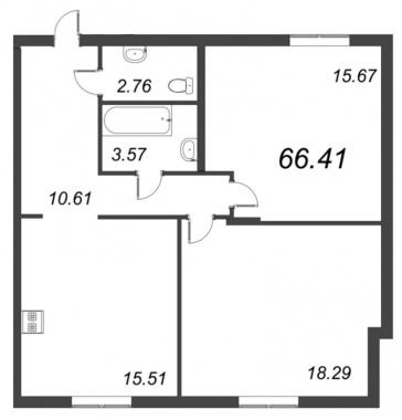 2-комнатная квартира №72 в: ID Moskovskiy: 66.41 м²; этаж: 3 - купить в Санкт-Петербурге