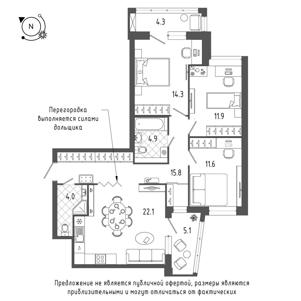 3-комнатная квартира №70 в: ЖК Эталон на Неве: 88.5 м²; этаж: 4 - купить в Санкт-Петербурге