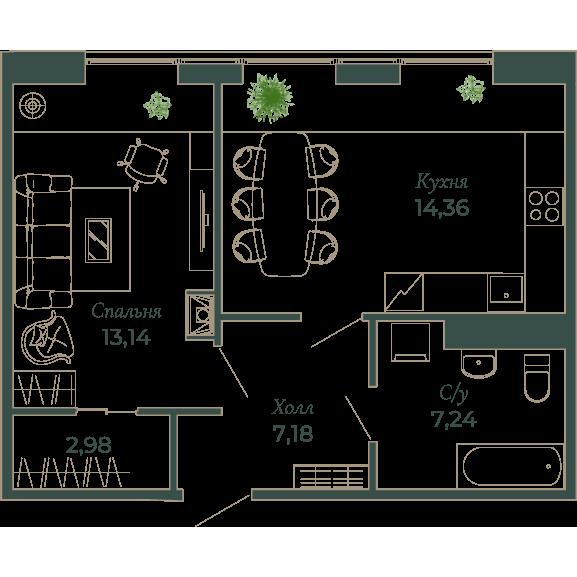 1-комнатная квартира, 41.6 м²; этаж: 8 - купить в Санкт-Петербурге