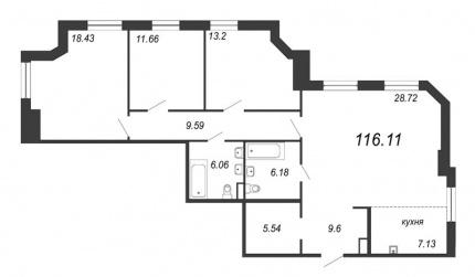 3-комнатная квартира, 116.11 м²; этаж: 7 - купить в Санкт-Петербурге