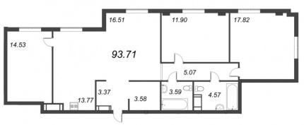 3-комнатная квартира, 93.71 м²; этаж: 9 - купить в Санкт-Петербурге