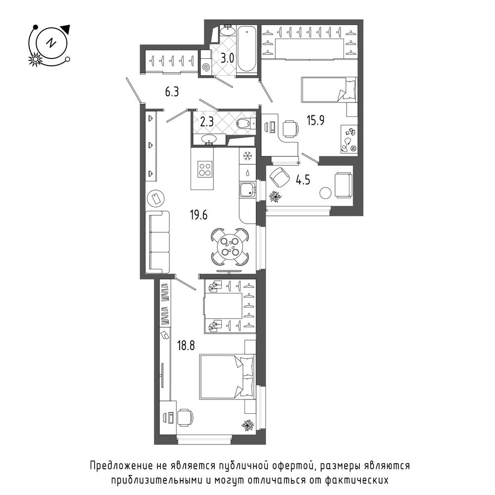 2-комнатная квартира, 68.2 м²; этаж: 9 - купить в Санкт-Петербурге