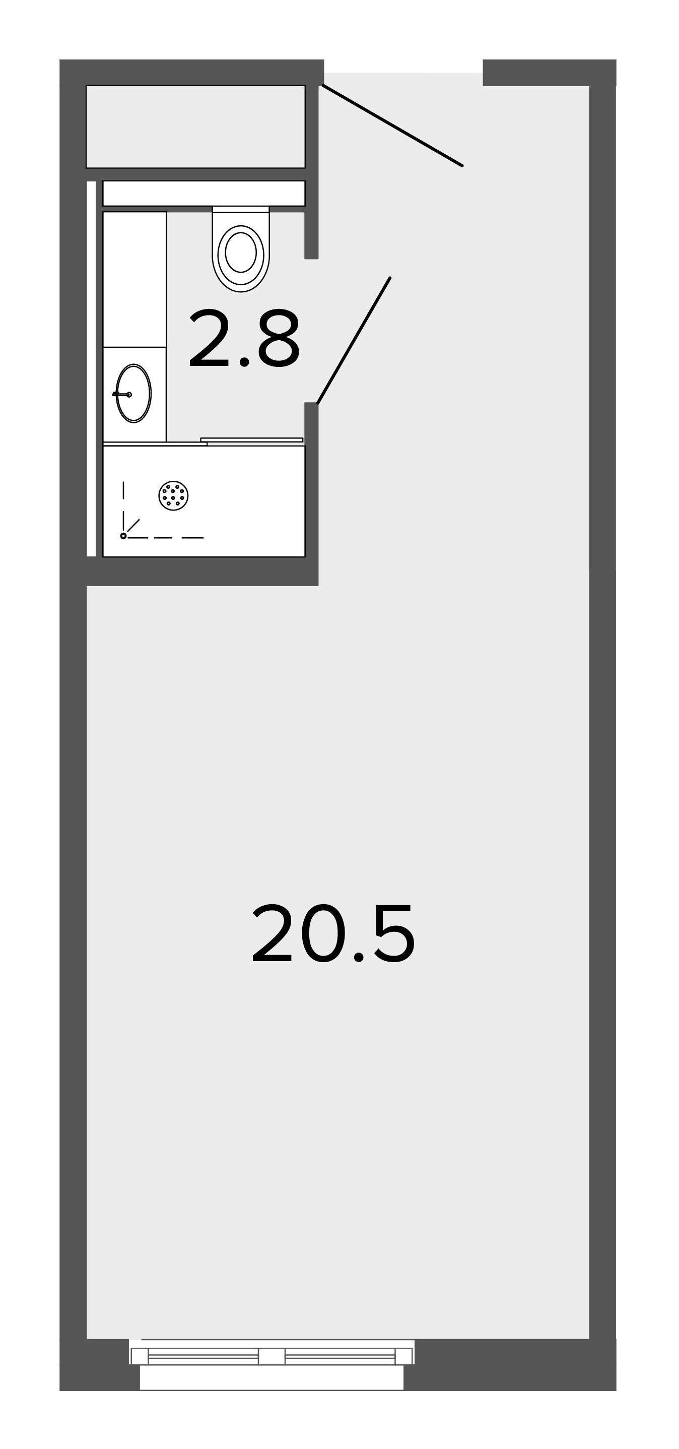 1-комнатная квартира, 22.9 м²; этаж: 3 - купить в Санкт-Петербурге