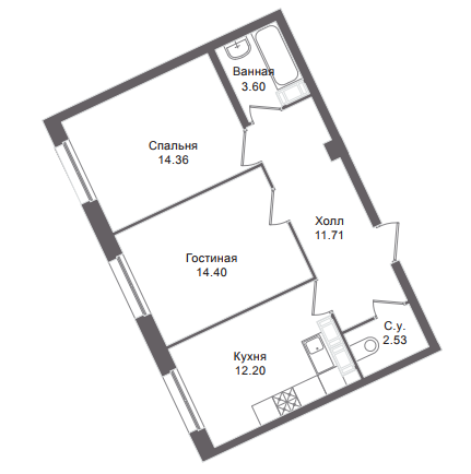 2-комнатная квартира, 58.5 м²; этаж: 4 - купить в Санкт-Петербурге