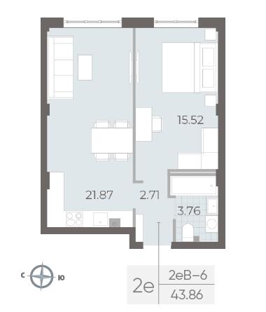 1-комнатная квартира №17А в: Neva Residence: 43.86 м²; этаж: 2 - купить в Санкт-Петербурге