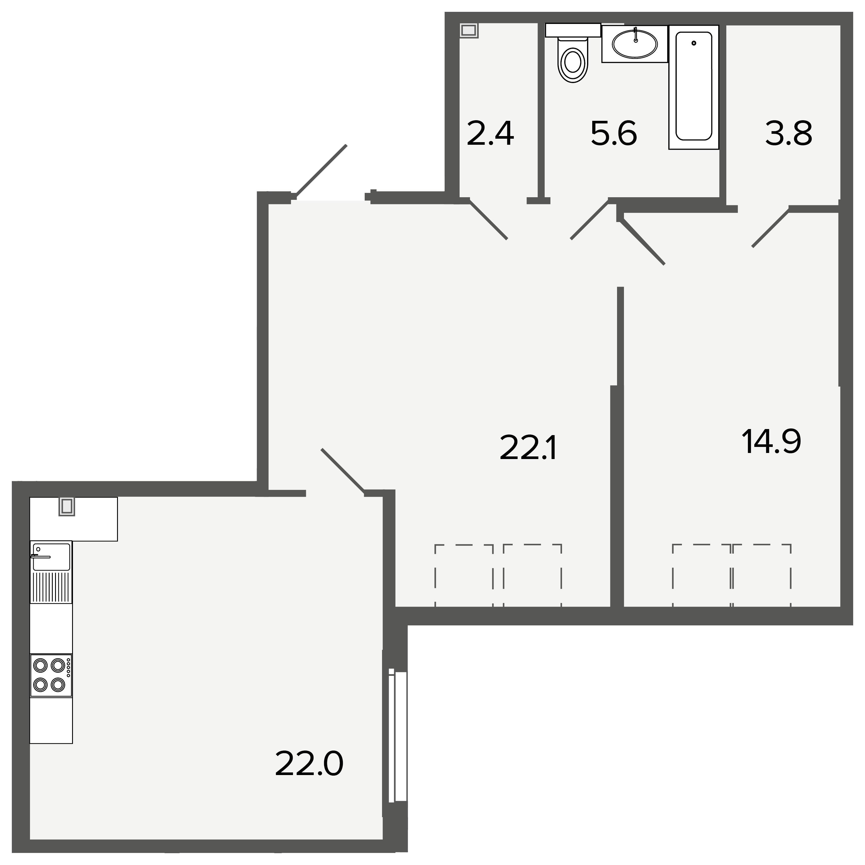 1-комнатная квартира, 70.8 м²; этаж: 4 - купить в Санкт-Петербурге
