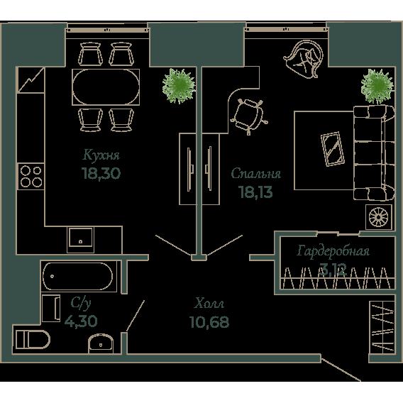 1-комнатная квартира, 51.9 м²; этаж: 7 - купить в Санкт-Петербурге