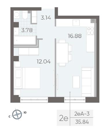 1-комнатная квартира №17А в: Neva Residence: 35.84 м²; этаж: 2 - купить в Санкт-Петербурге