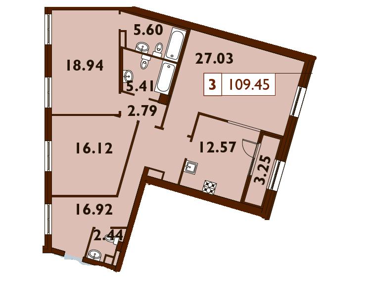 3-комнатная квартира, 109.45 м²; этаж: 6 - купить в Санкт-Петербурге