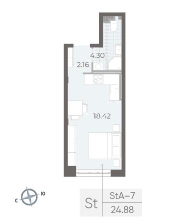 1-комнатная квартира №17А в: Neva Residence: 24.88 м²; этаж: 4 - купить в Санкт-Петербурге
