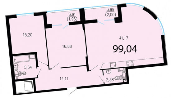 2-комнатная квартира №1 в: ЖК Пять звезд: 101.7 м²; этаж: 3 - купить в Санкт-Петербурге