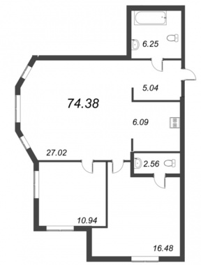 2-комнатная квартира №72 в: ID Moskovskiy: 74.38 м²; этаж: 3 - купить в Санкт-Петербурге