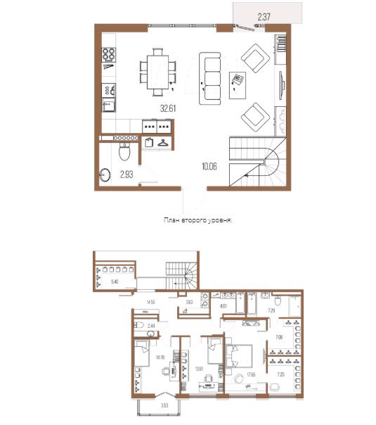 3-комнатная квартира, 143.94 м²; этаж: 7 - купить в Санкт-Петербурге