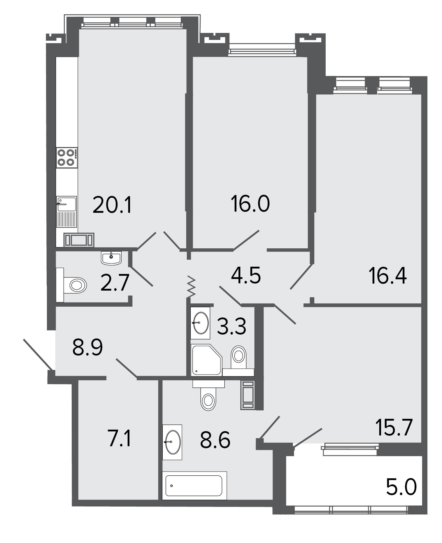 3-комнатная квартира, 103.3 м²; этаж: 4 - купить в Санкт-Петербурге