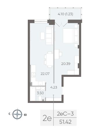 2-комнатная квартира №17А в: Neva Residence: 51.42 м²; этаж: 3 - купить в Санкт-Петербурге