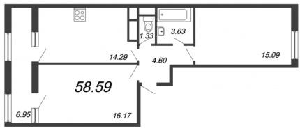 2-комнатная квартира, 58.59 м²; этаж: 11 - купить в Санкт-Петербурге