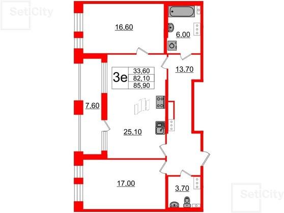 2-комнатная квартира, 82.1 м²; этаж: 4 - купить в Санкт-Петербурге