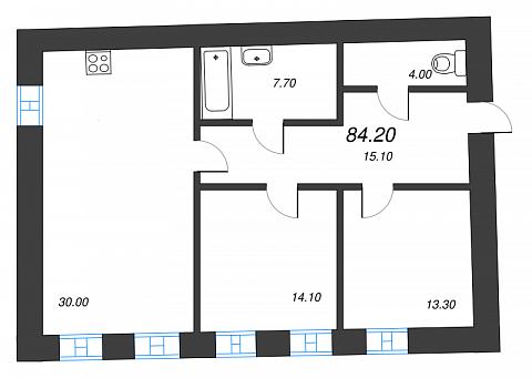 2-комнатная квартира №41 в: Три грации: 84.2 м²; этаж: 2 - купить в Санкт-Петербурге