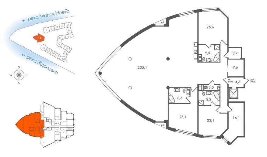4-комнатная квартира №45 в: ЖК Леонтьевский Мыс: 342 м²; этаж: 8 - купить в Санкт-Петербурге