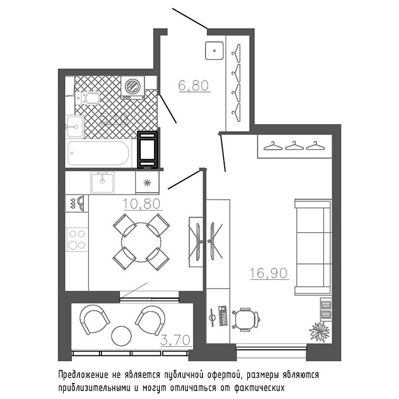 1-комнатная квартира №8к.1 в: Галактика Премиум: 41.7 м²; этаж: 7 - купить в Санкт-Петербурге