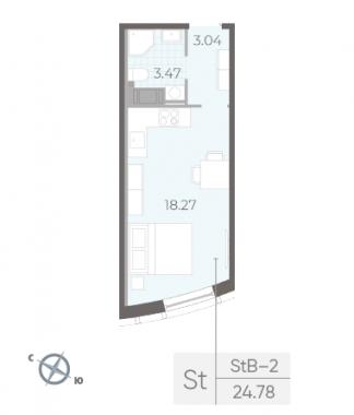 1-комнатная квартира, 24.78 м²; этаж: 12 - купить в Санкт-Петербурге
