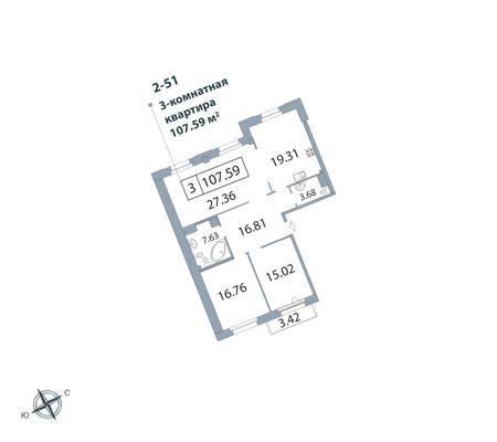 3-комнатная квартира, 108.1 м²; этаж: 5 - купить в Санкт-Петербурге