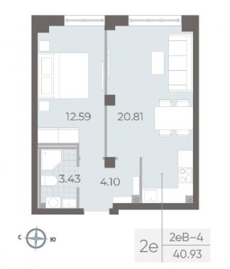 1-комнатная квартира №17А в: Neva Residence: 40.93 м²; этаж: 3 - купить в Санкт-Петербурге