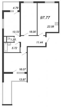 3-комнатная квартира, 97.77 м²; этаж: 15 - купить в Санкт-Петербурге