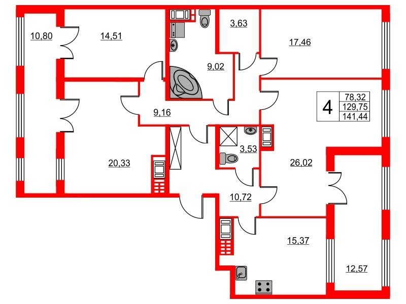 4-комнатная квартира, 129.75 м²; этаж: 7 - купить в Санкт-Петербурге