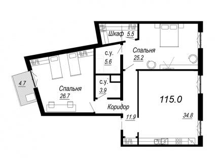 2-комнатная квартира №27 в: Meltzer Hall: 115 м²; этаж: 5 - купить в Санкт-Петербурге