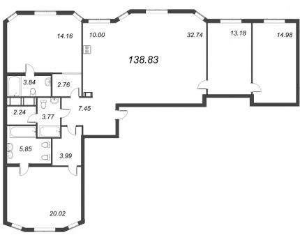 3-комнатная квартира, 138.83 м²; этаж: 4 - купить в Санкт-Петербурге