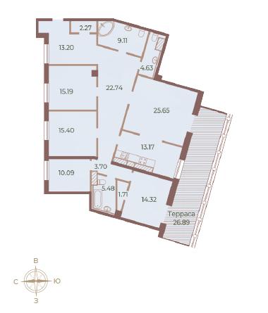 5-комнатная квартира, 164.73 м²; этаж: 9 - купить в Санкт-Петербурге