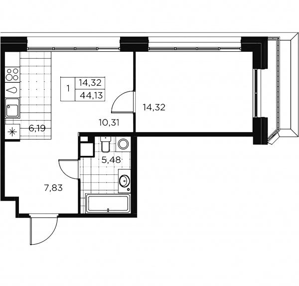 1-комнатная квартира, 44.13 м²; этаж: 9 - купить в Санкт-Петербурге