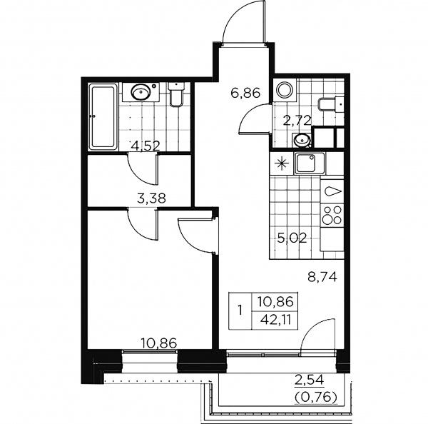 1-комнатная квартира, 42.87 м²; этаж: 9 - купить в Санкт-Петербурге