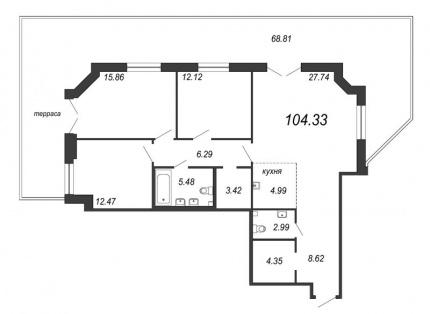 3-комнатная квартира, 124.97 м²; этаж: 2 - купить в Санкт-Петербурге