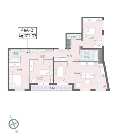 4-комнатная квартира №13 в: ЖК Морская набережная.SeaView: 102.07 м²; этаж: 14 - купить в Санкт-Петербурге
