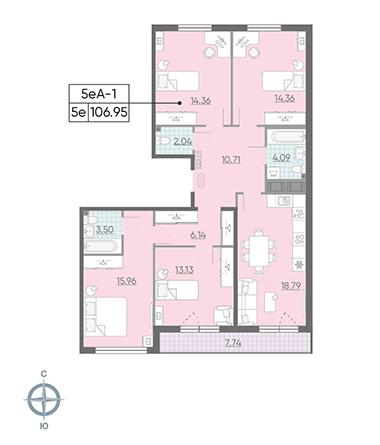 5-комнатная квартира, 106.95 м²; этаж: 14 - купить в Санкт-Петербурге