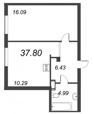 1-комнатная квартира, 37.8 м²; этаж: 9 - купить в Санкт-Петербурге