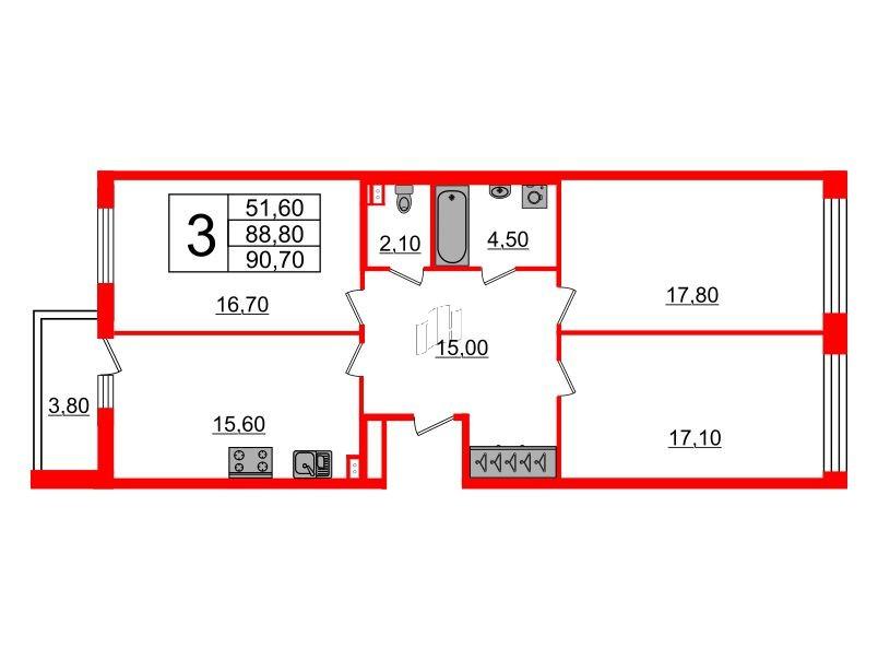 3-комнатная квартира №3 в: Светлана парк: 88.8 м²; этаж: 2 - купить в Санкт-Петербурге
