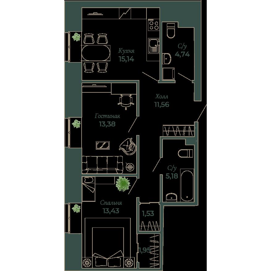 2-комнатная квартира, 67.3 м²; этаж: 2 - купить в Санкт-Петербурге