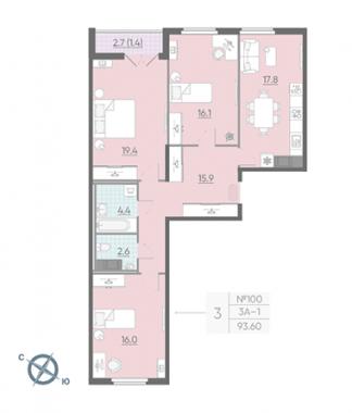 3-комнатная квартира, 93.9 м²; этаж: 14 - купить в Санкт-Петербурге