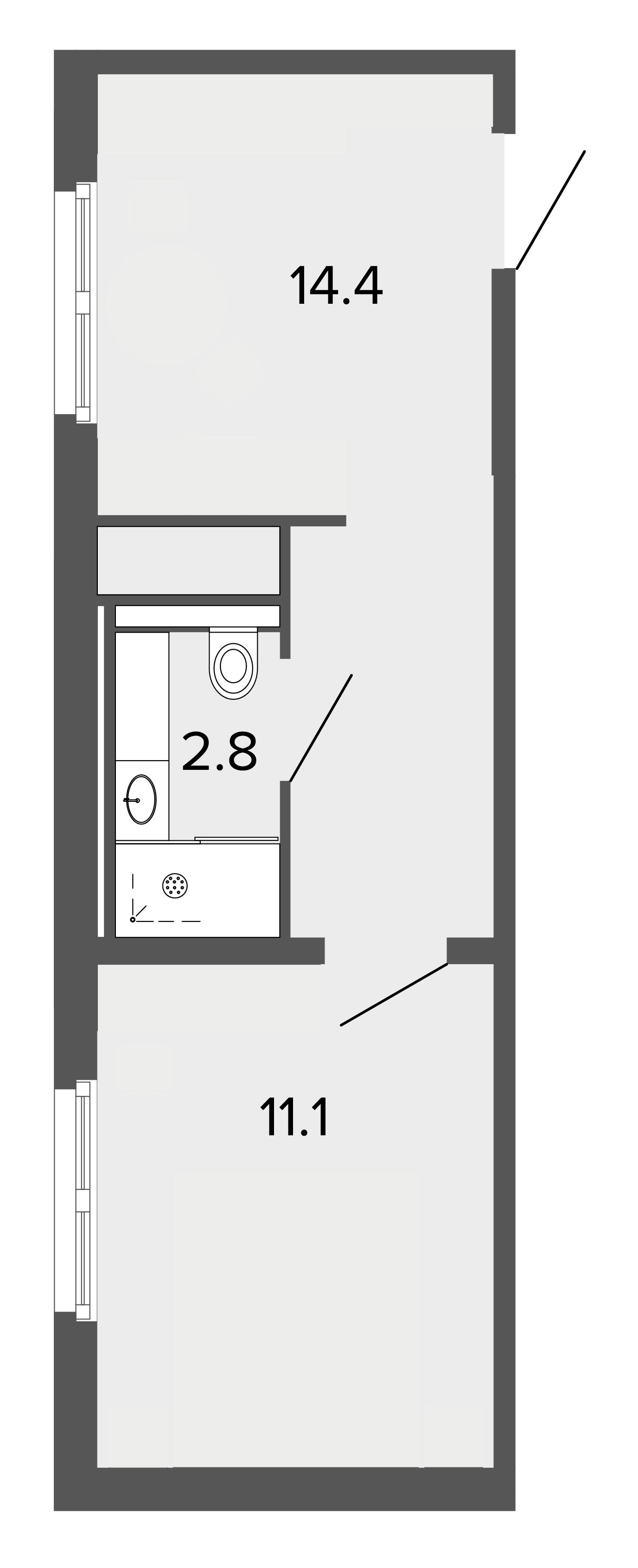 1-комнатная квартира, 28.2 м²; этаж: 3 - купить в Санкт-Петербурге