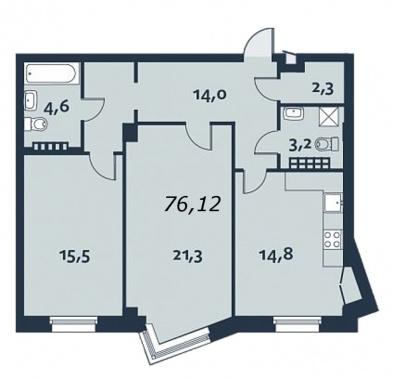 2-комнатная квартира, 76.6 м²; этаж: 5 - купить в Санкт-Петербурге