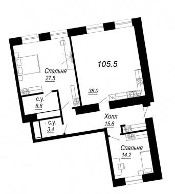 2-комнатная квартира №27 в: Meltzer Hall: 105.5 м²; этаж: 5 - купить в Санкт-Петербурге