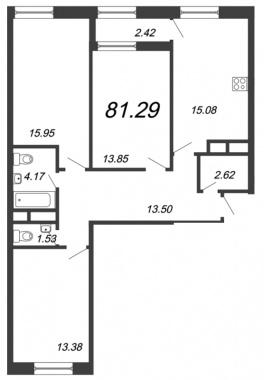 3-комнатная квартира, 81.29 м²; этаж: 3 - купить в Санкт-Петербурге