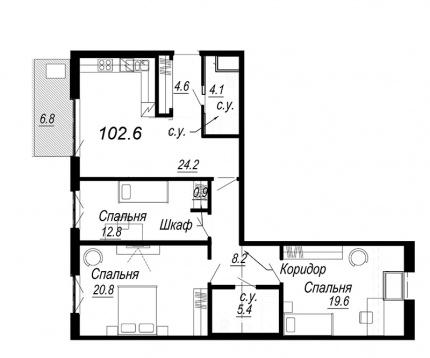 3-комнатная квартира, 102.6 м²; этаж: 7 - купить в Санкт-Петербурге