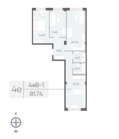 3-комнатная квартира №17А в: Neva Residence: 81.74 м²; этаж: 2 - купить в Санкт-Петербурге