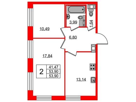 3-комнатная квартира, 53.9 м²; этаж: 8 - купить в Санкт-Петербурге
